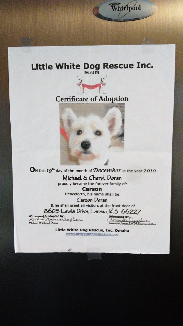 Carson's Cert of Adoption